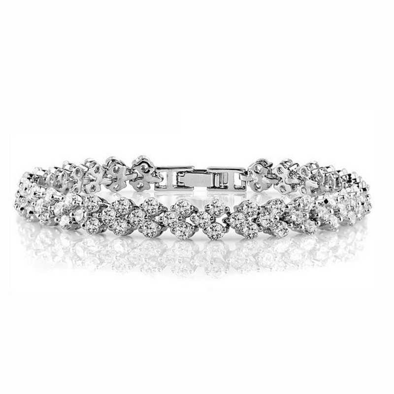 925 Sterling Silver klaster okrągły AAA CZ cyrkonia tenis bransoletki Pulseras Pulseira bransoletka kobiety biżuteria dziewczyna przyjaciel prezent