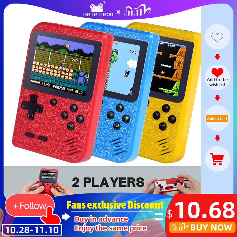 DATA FROG 8 bit Handheld Game Console Mini Handheld Player Built-in 400 Games 3 0 Inch Retro Video Game Console Gamepad 2 Player