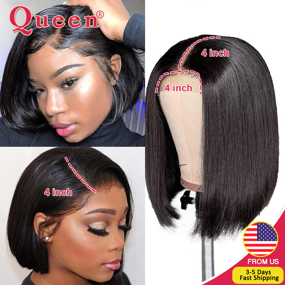 Bob Wig Closure-Wig Human-Hair-Wigs Straight-Bob-Wig Blunt Cut Lace Remy Black Women