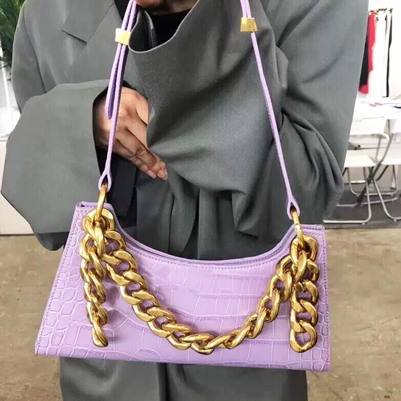 Purple Tote Bags For Women Vintage Handbag Mini Leather Shoulder Bag Retro Women Bag Stone Pattern Female Purse