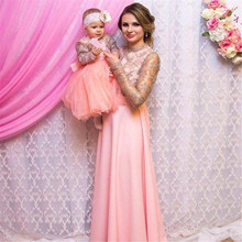 Long Sleeve Vintage Lace Chiffon Mother Daughter Pink Birthday Party Dresses Mom Kids Girls Pageant Dresses Custom