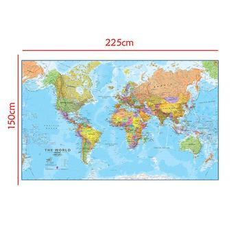 The World Physical Map 150x225cm Non-woven Spray Without National Flag For Travel And Trip
