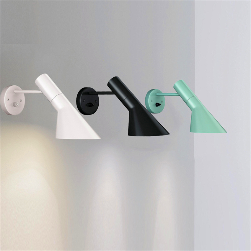 Free Shipping Modern LED Wall Lamp Vintage Arne Jacobsen Wood LIKE Wall Light AJ Iron Hanging Lamp Nordic Sconce Light Luminaire in LED Indoor Wall Lamps from Lights Lighting