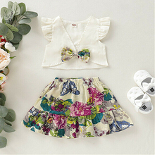 New Toddler Kids Baby Girls Summer Clothes Ruffle Button Straps Vest Tops+Floral Bandage Skirt Dress Cute 2Pcs Bebe Girl Outfits summer infant baby girl ruffle floral dress sundress briefs outfits clothes set children kids new arrival girls clothing