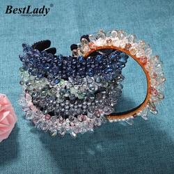 Женская повязка на голову с кристаллами, вечерние украшения ручной работы в стиле бохо, аксессуары для волос с камнями