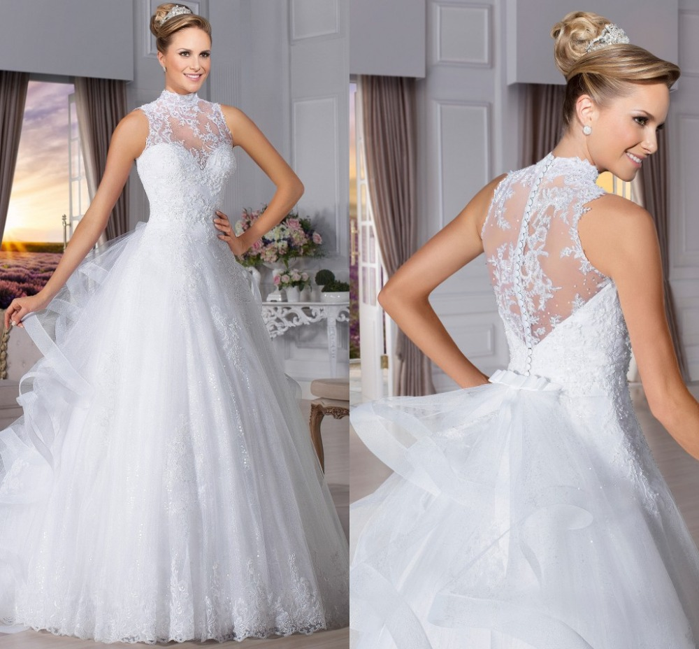 Vigorous And Graceful Ball Gown Hi-neck Tulle See Through Back Vestido De Noiva Bridal Gown 2018 Mother Of The Bride Dresses