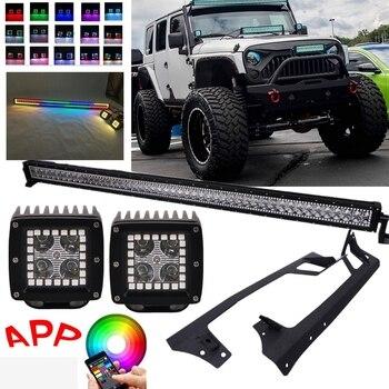 Bluetooth App RGB Halo Led Pods Light Multicolor 50Inch LED Work Light Bar Roof Mounting Brackets for Jeep Wrangler Jk 07-15