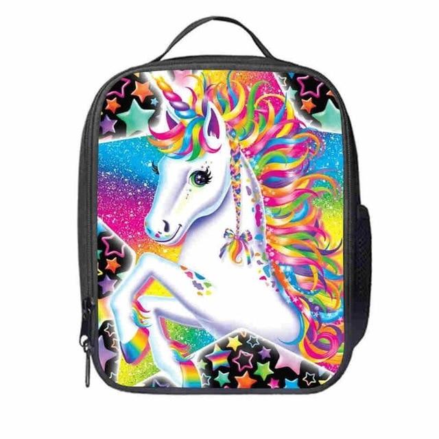 Bolsa do Almoço Escola das Meninas dos Meninos do Miúdo Unicórnio Personalizado Cavalo Animal Anime Adolescentes Térmica Cooler Duplas Tote Box Lua Cão
