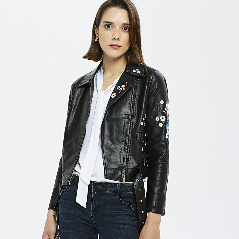 SWYIVY Women Floral Print Embroidery Faux   Leather   Jacket Coat Lady Turn-down Collar Casual Pu Motorcycle Black Punk Outerwear