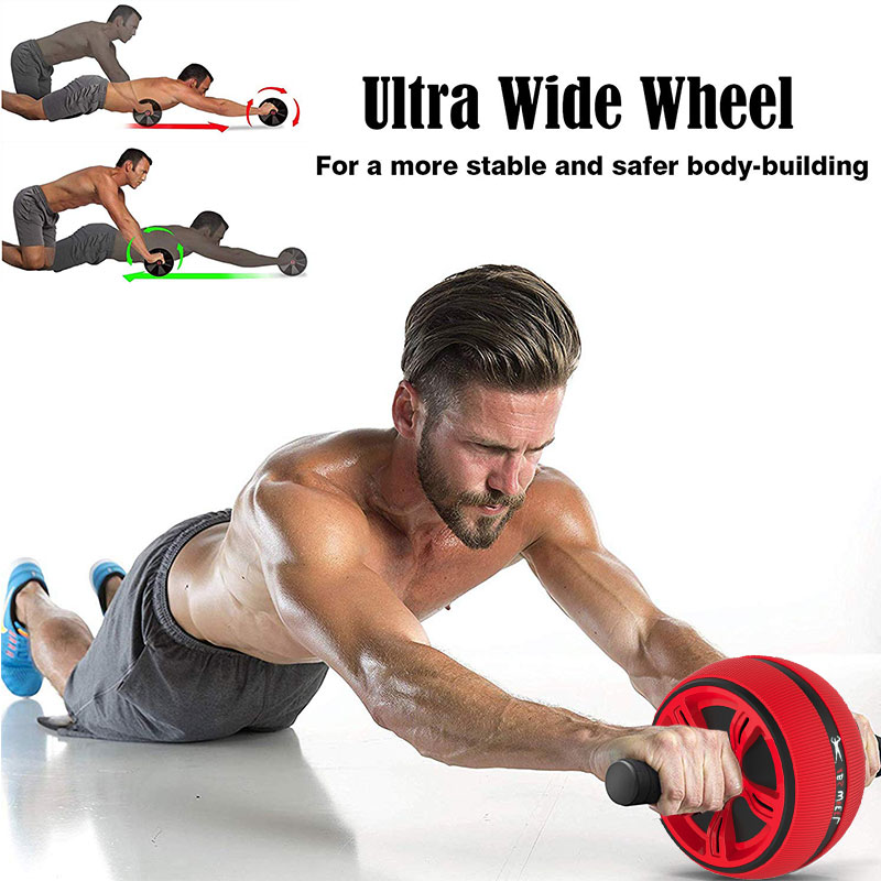 Large Silent TPR Mute Abdominal Wheel Roller Single Fitness Trainer Home Gym equipment Exercise Belly Ab Tomic Roue Abdominaux image