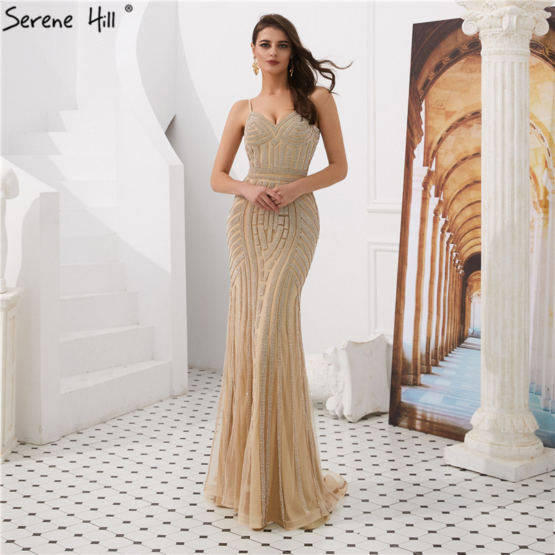 Gold Strapless Sexy Mermaid   Evening     Dresses   2019 Dubai Sleeveless Full Diamond Formal Gowns Long Serene Hill LA6002