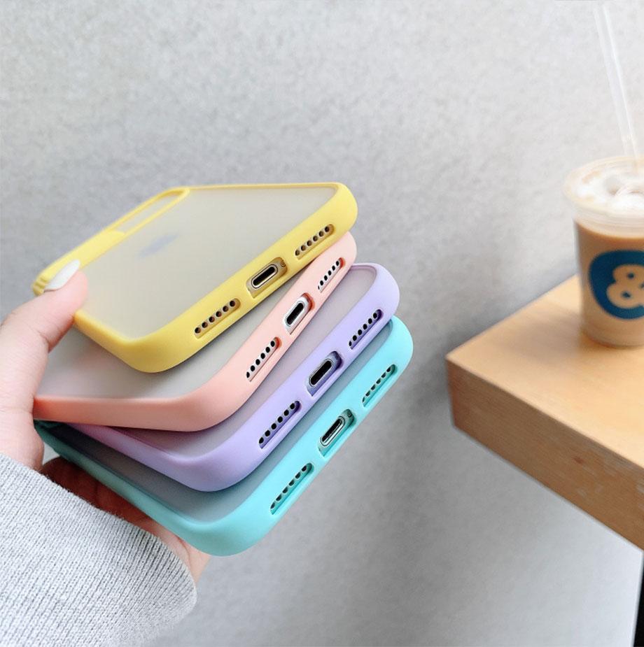 H32d87771a9a34c1a9474a125bc2bac67I Capinha celular iphone case Proteção da lente da câmera caso do telefone para o iphone 11 12 pro max 8 7 6s mais xr xsmax x xs se 2020 12 cor doces capa traseira macia