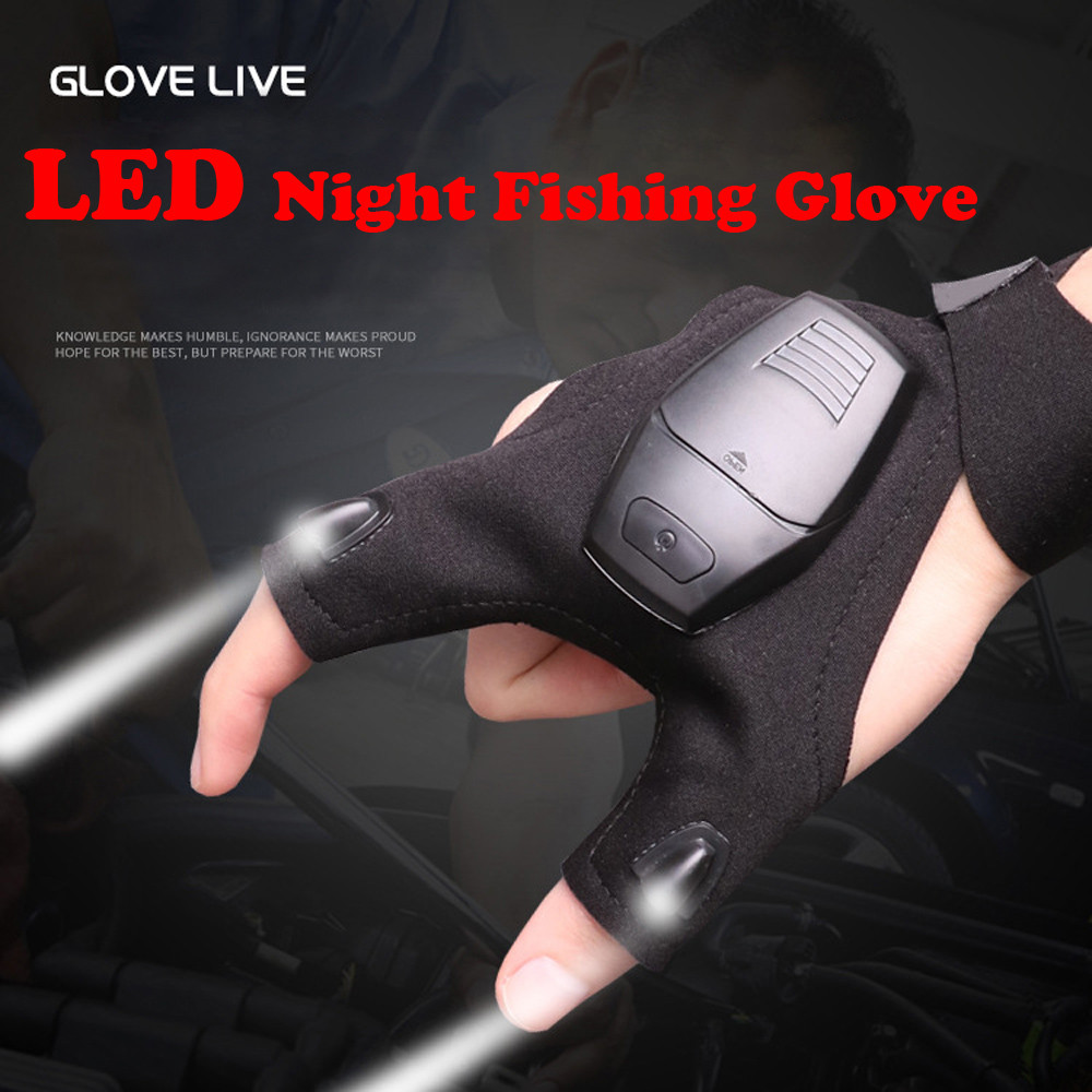 Finger Night Glove with LED Light Flashlight Rescue Tools Outdoor Gear Fishing
