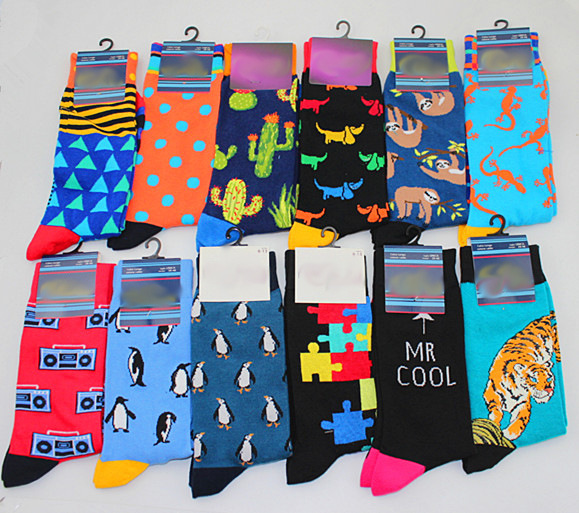 New Mens Sock Brand Cactus Panda Monkey Pattern Hip Hop Cool Socks For Men Winter Thick Long Skate Funny Socks Colorful