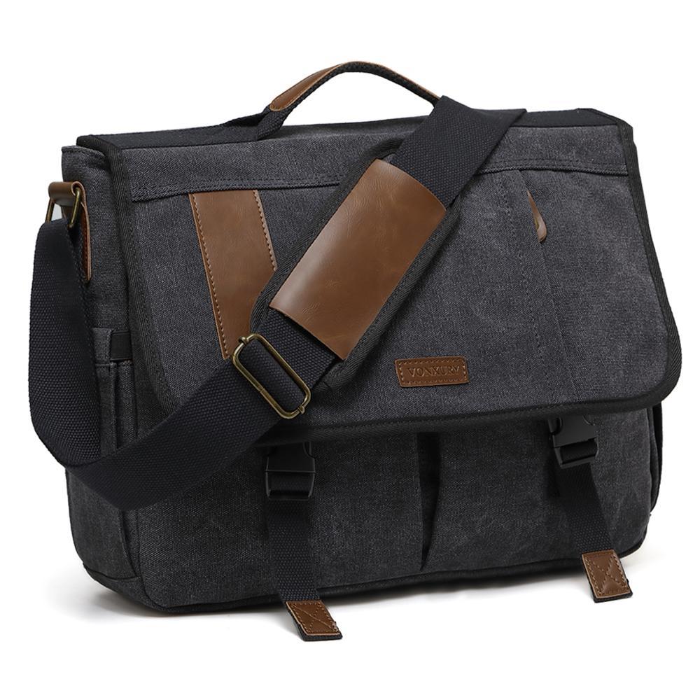 Canvas Messenger Bag For Men Shoulder Bag Briefcase 17 Inch Laptop Satchel Bag Padded Shoulder Strap Water Resistant