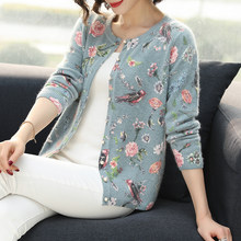 YISU Women Cardigans Sweater Autumn Winter Floral bird pattern Knitted Coat Cardigan Single Breasted Casual Knit Jacket Sweater(China)