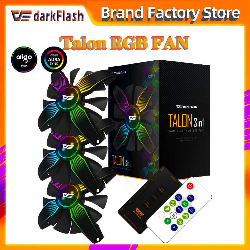 Aigo Darkflash Rgb Fan 3 Stuks 120Mm Pc Fan Aura Sync Rgb Controle Aura Pc Fan Afstandsbediening Computer cooling Fan Case Fans