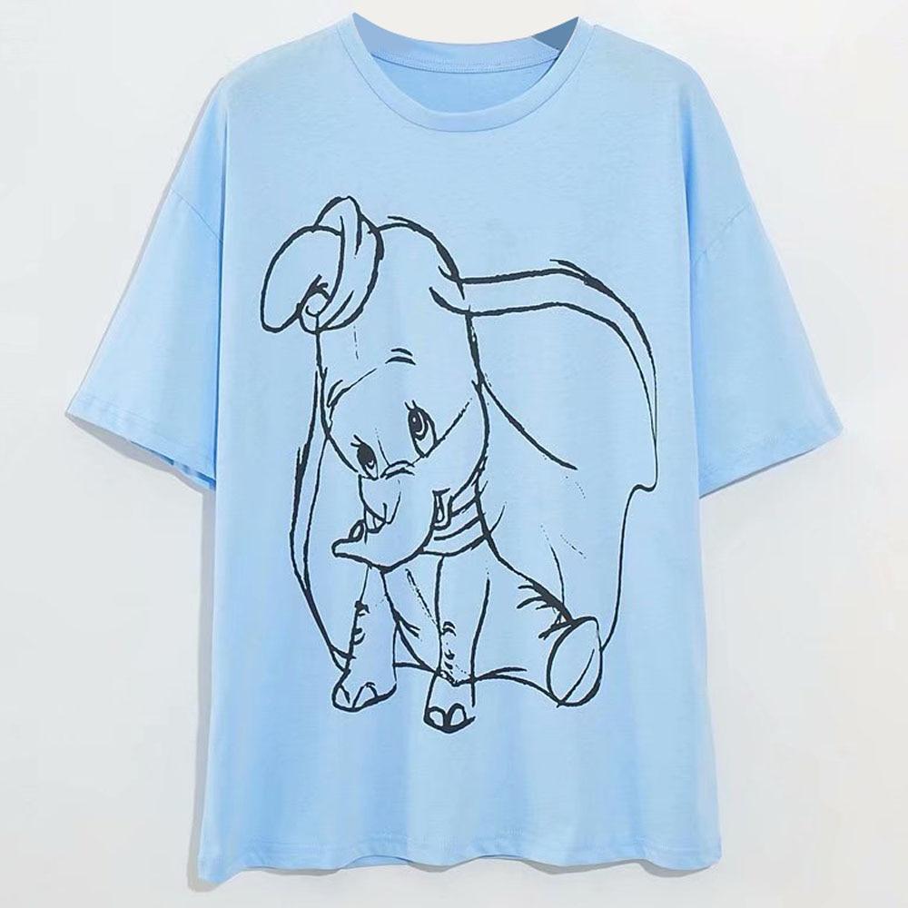 Disney Family T-Shirt Fashion Winnie the Pooh Mickey Mouse Stitch Fairy Dumbo SIMBA Cartoon Print Women T-Shirt Cotton Tee Tops 17