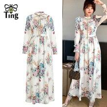 Tingfly de vestid grande Floral de talla grande de manga larga de las mujeres Boho flor largo Casual vestido de una línea Largos Vestidos 2021