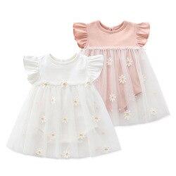 Летняя одежда розового цвета для новорожденных в стиле принцессы для маленьких девочек трико, платье на каждый день с круглым вырезом с кор...