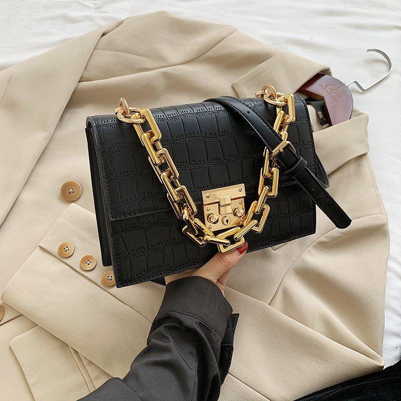 Женские сумки через плечо с каменным узором, Модные Черные Сумки из искусственной кожи 2020, золотистая утолщенная сумка с цепочкой, женская сумка через плечо|Сумки с ручками|   | АлиЭкспресс