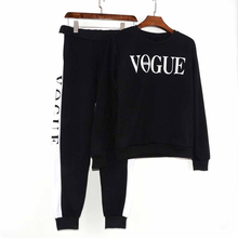 YMYW Tracksuit 2019 Autumn Winter Women's Suit VOGUE Letter Printed 0-Neck Sweat