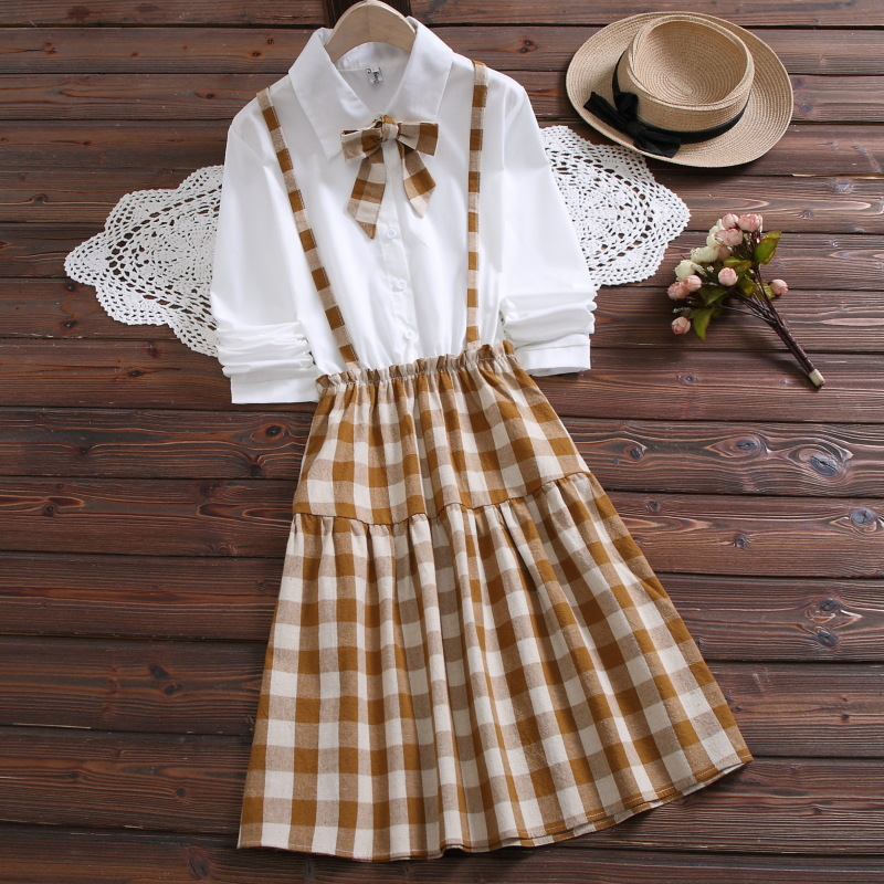 2020 Spring Japanese Style College Shool Uniform Girls Plaid Dresses Clothes False Two-Piece Bow Long Strap Dress For Female