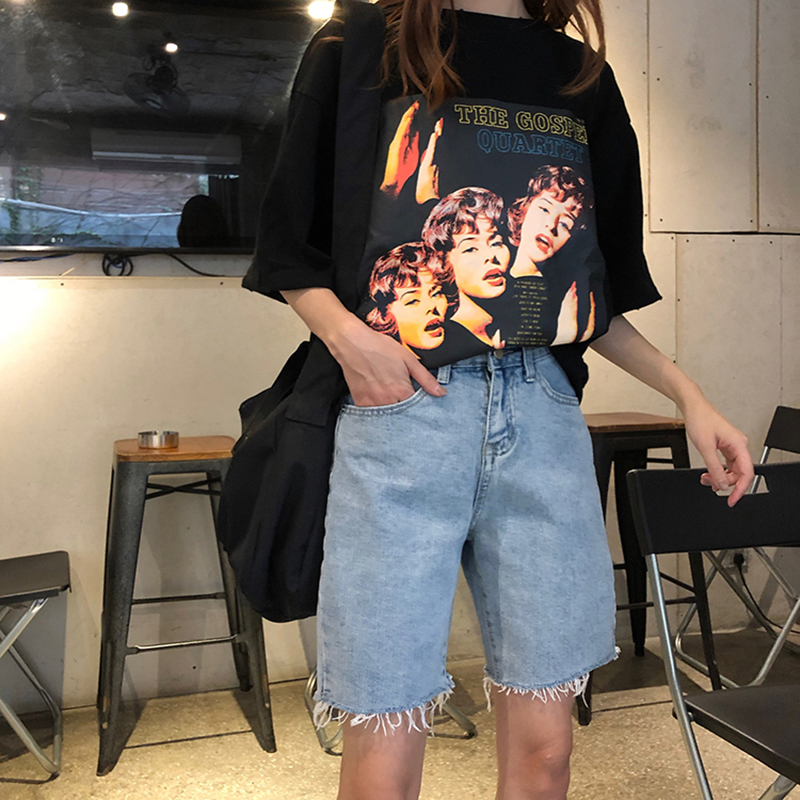 Women jeans spring Korean simple large size high waist denim five-point pants frayed personality slim casual wide-leg jeans