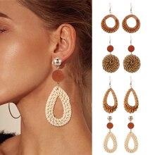 Bohemian Handmade Geometric Rattan Knit Dangle Earring For Women Vintage Straw Weave Water Drop Earrings Fashion Female Jewelry