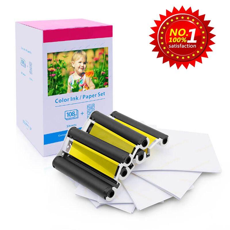 Uyumlu Canon KP-108IN 3 renkli mürekkep 180 süblimasyon fotoğraf kağıdı 4*6