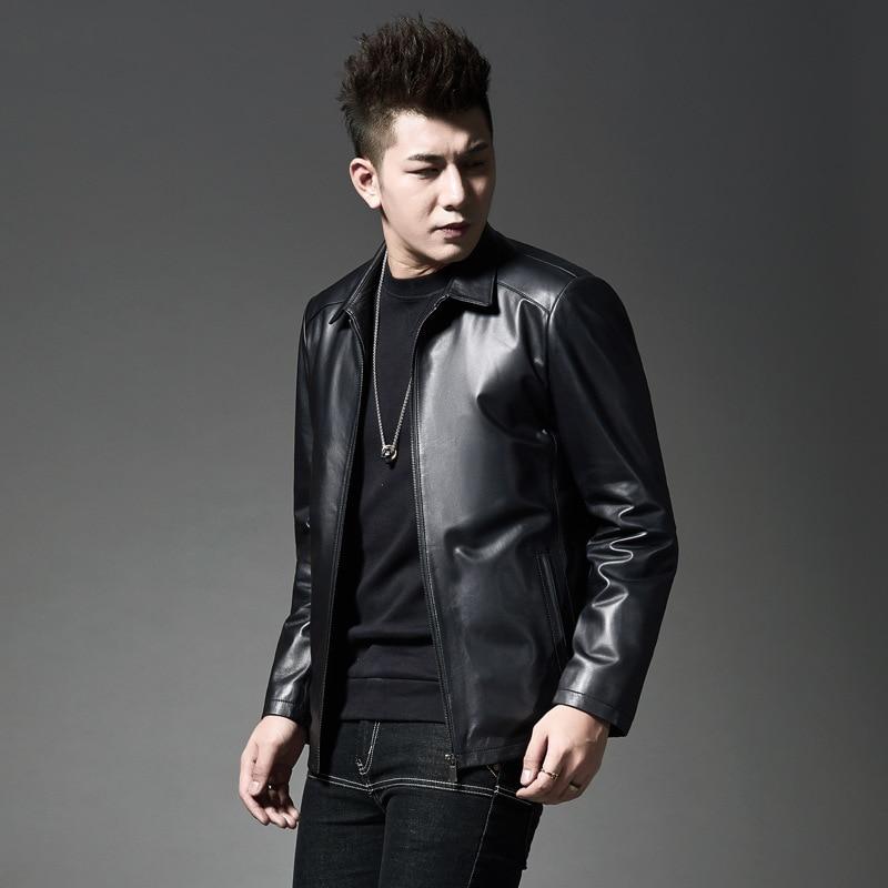 Новый стиль 2019, зимнее мужское кожаное пальто в Корейском стиле, черно белое, с рисунком, городское, модное, с отложным воротником, повседнев... - 2
