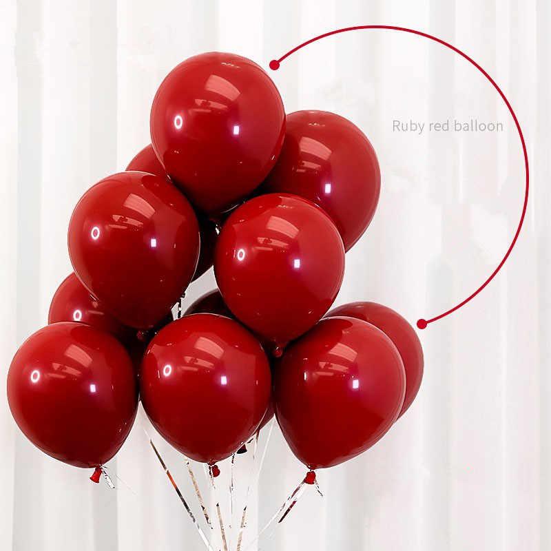 Balão de látex vermelho de 10 polegadas, balão em forma de coração fosco de romã, balão de confete vermelho para propostas de casamento, 10 peças pa