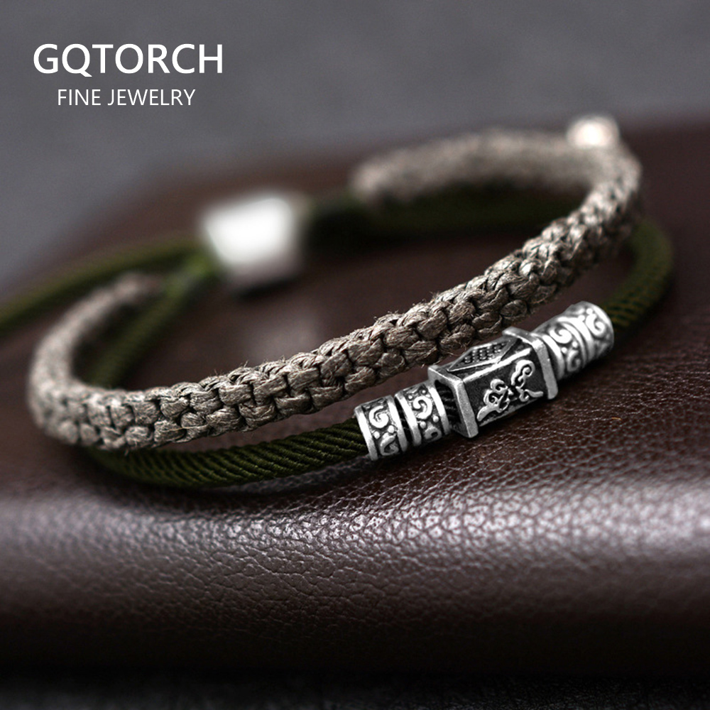 925 Silver Lucky Charm Bracelet Braided For Men Double Layers Adjustable Tibetan Handmade Knots Lucky Rope Bracelet Personalized