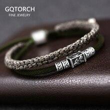925 argent porte bonheur Bracelet tressé pour hommes Double couches réglable tibétain à la main noeuds chanceux corde Bracelet personnalisé