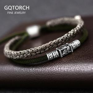 Image 1 - 925 argent porte bonheur Bracelet tressé pour hommes Double couches réglable tibétain à la main noeuds chanceux corde Bracelet personnalisé