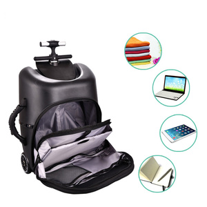Image 5 - New design lazy baby sit on scooter luggage kids carry on travel suitcase bag boarding skateboard creative trolley case