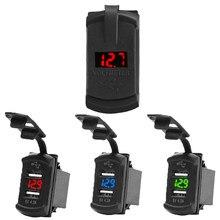 Uniwersalna ładowarka samochodowa 12V 24V 4.2A wyświetlacz napięcie wodoodporne podwójne porty USB Auto Adapter ładowarka do telefonu Iphone Huawei Xiaomi