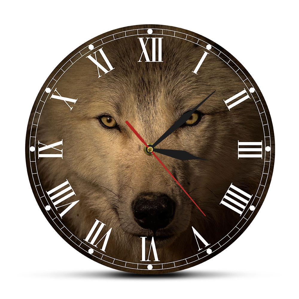 Grey Wolf Decorative Wall Clock Spiritual Animal Wall Art Home Decor Wildlife Wolf Head Living Room Silent Movement Wall Watch