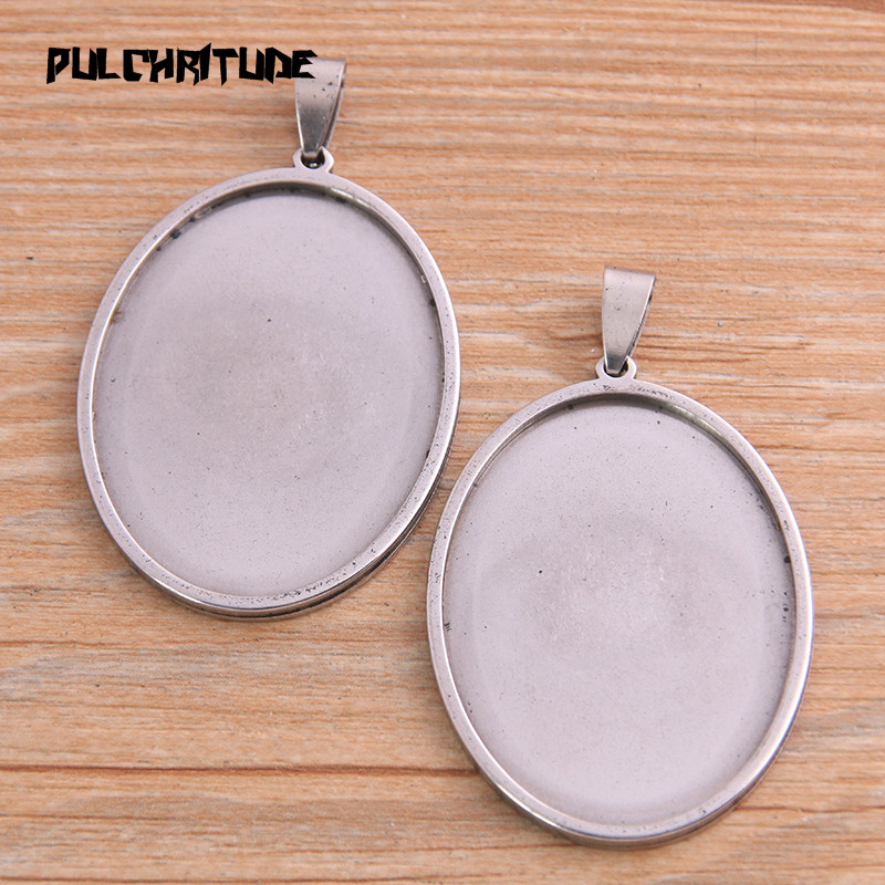 PULCHRITUDE 2pcs 30*40mm Inner Size Stainless Steel Siver Oval Cabochon Base Setting Diy Blank Pendant Tray For Necklace Making