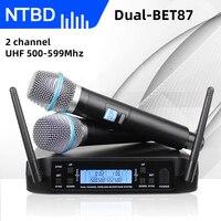 NTBD-micrófono inalámbrico GLXD4 BETa87a, 2 canales, UHF, profesional, para fiesta, Karaoke, iglesia, espectáculo y reunión