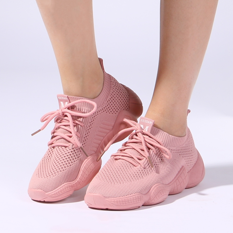 Women's Sneakers Mesh Breathable Pink Woman Fitness shoes Lace-up Lightweight Black Women Running Shoes size 35-40 802s