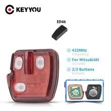 KEYYOU Keyless כניסת רכב מרחוק מפתח כיסוי 433MHz 2/3 כפתורים עבור מיצובישי לנסר הנכרי 2008 2010 2011 2012 עם ID46 שבב