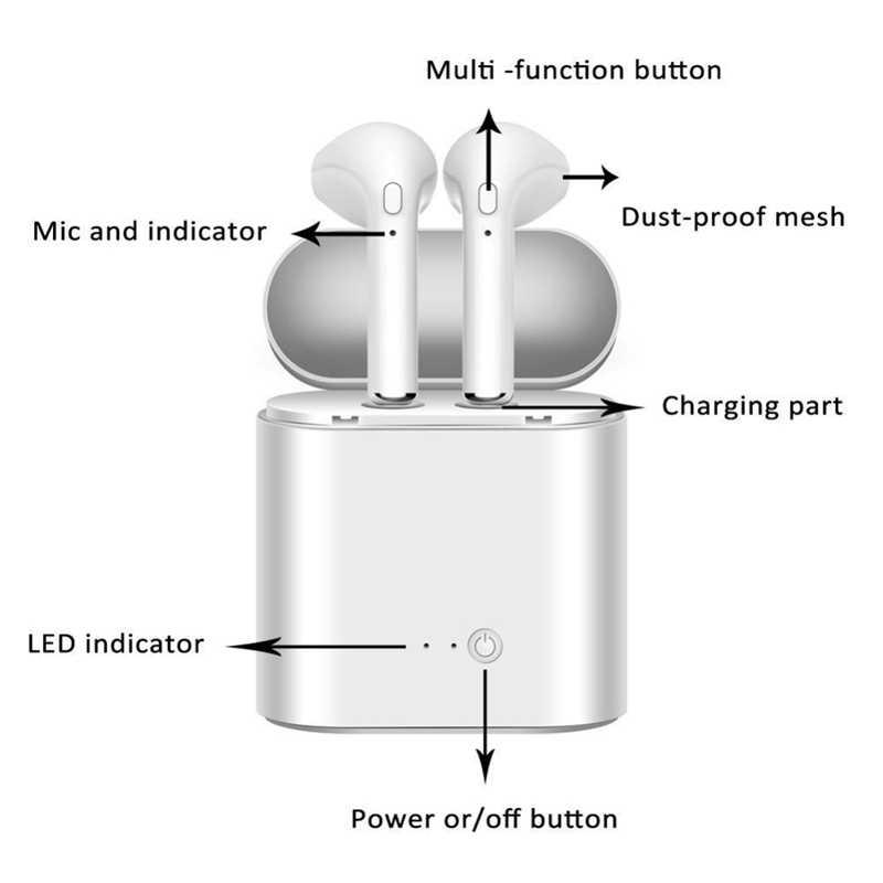 I7s Tws אלחוטי אוזניות Bluetooth אוזניות אוזניות דיבורית באוזן ספורט אוזניות עם טעינת תיבת עבור טלפון חכם