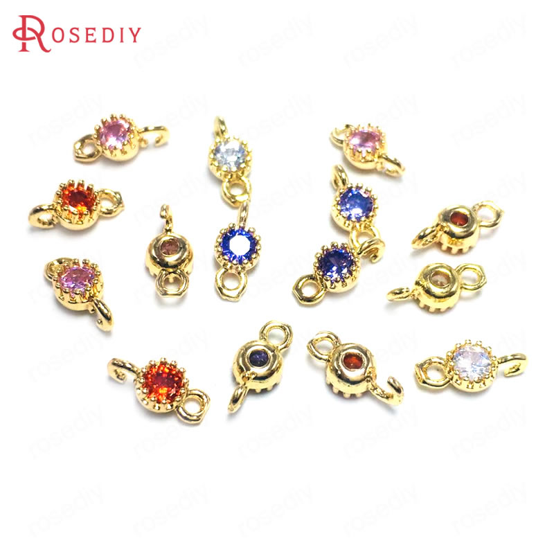 (38362)10PCS 4MM 24K Champagne Gold Color Brass and Zircon 2 Holes Round Connect Charms Pendants Jewelry Findings Accessories