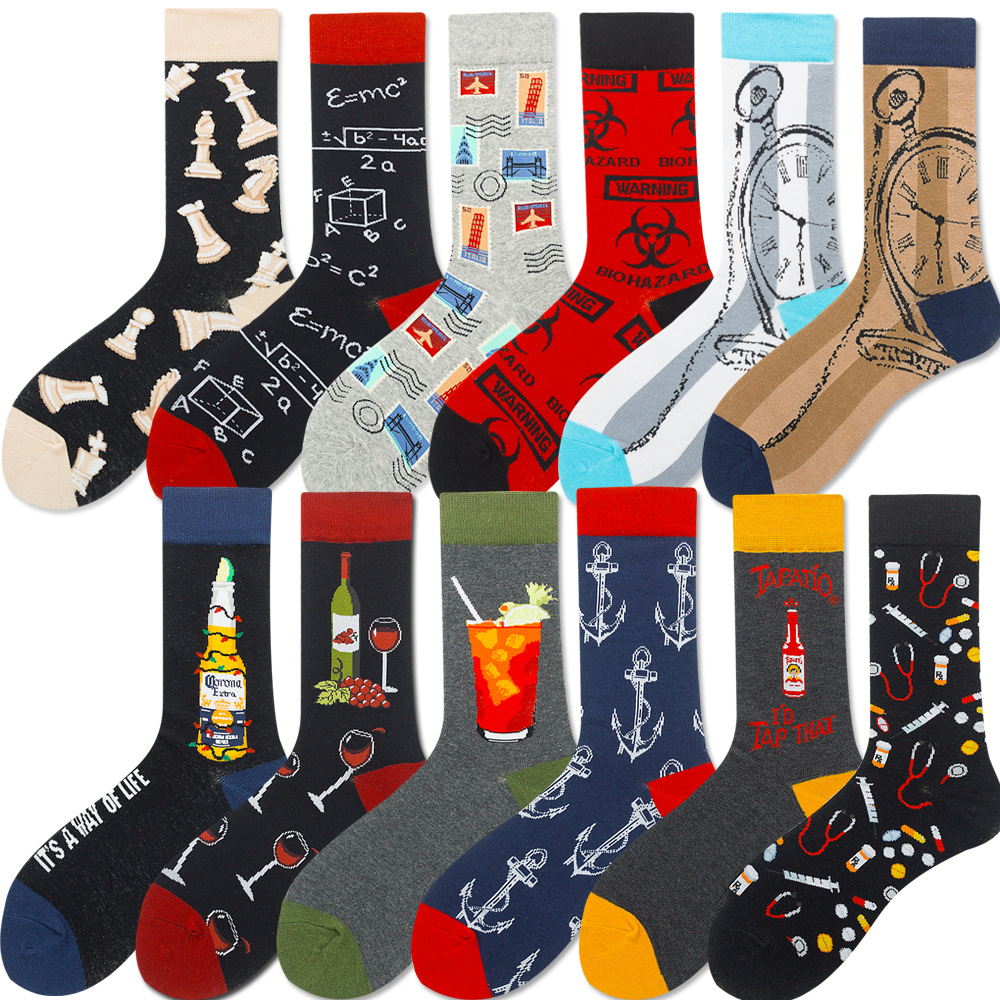Men Fashion Socks Pills Chess Hip Hop Men's Socks Tubes Champagne Red Wine Socks Pocket Watch Beer Stamp Women's Socks
