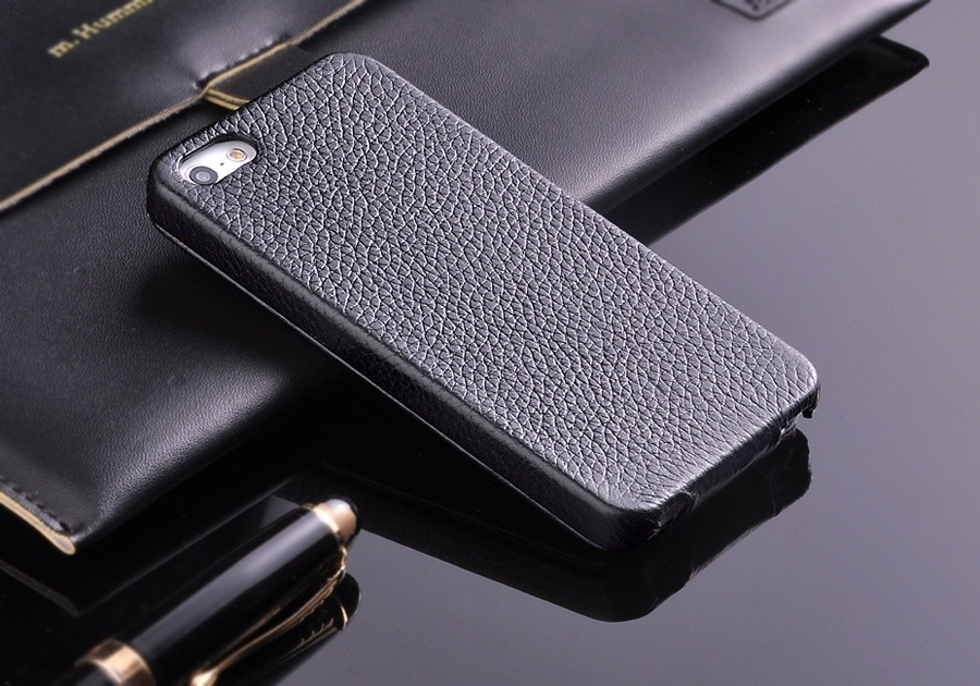 100% <font><b>Genuine</b></font> <font><b>Leather</b></font> Vertical Flip <font><b>Case</b></font> for <font><b>iPhone</b></font> 5 <font><b>5S</b></font> SE Litchi Stria Real <font><b>Leather</b></font> High Quality with Free Screen Protector image
