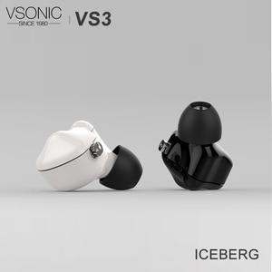 Image 1 - Внутриканальные наушники VSONIC VS3 ICEBERG HiFi с динамическим драйвером и съемным кабелем, 2 контактный разъем 0,78 мм