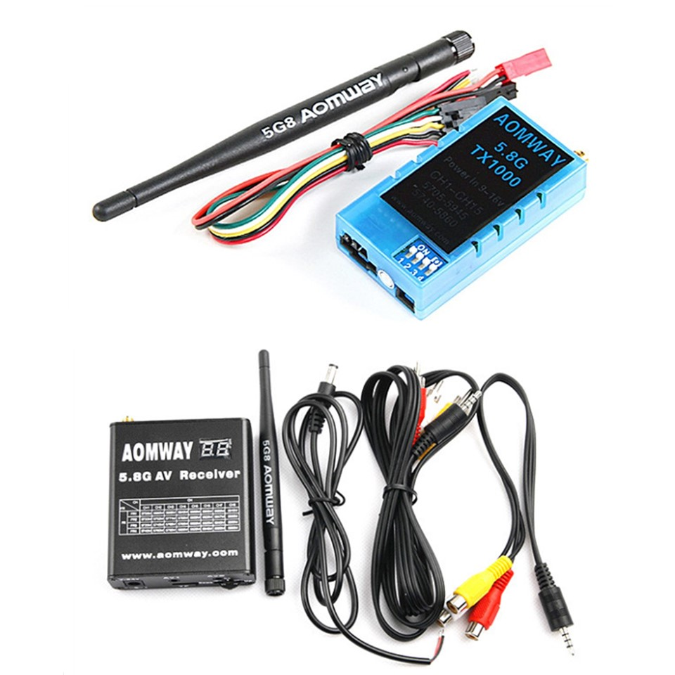 Aomway 5.8Ghz 1W 1000mW 32CH AV Audio Video Transmitter VTX Receiver w/DVR Recorder Function 8km Long Range for FPV Racing Drone