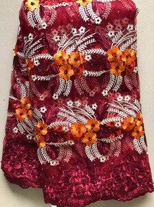 Image 1 - 2020 африканская сетчатая кружевная ткань, Высококачественная элегантная нигерийская Свадебная Кружевная Ткань 5 ярдов, французское Тюлевое кружево с камнями HLL4587 HLL5092