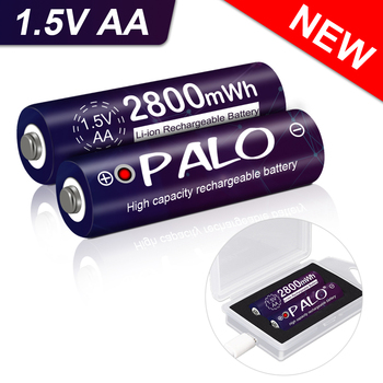 PALO 1.5V AA Battery Rechargeable Li-ion battery AA 1.5v 2800mWh lithium li-ion rechargeable battery and USB charger case